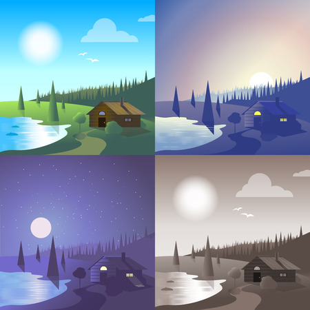 hilly: Flat lake house landscape river bank wild forest scene set. Stylish web banner nature outdoor collection. Daylight, night moonlight, sunset view, retro vintage picture sepia.