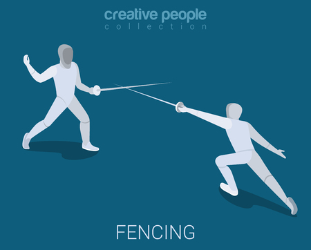 modern lifestyle: Fencing championship battle fight lunge push. Sport modern lifestyle flat 3d web isometric infographic vector. Young joyful people group sports workout exercise. Creative sportsmen people collection. Illustration