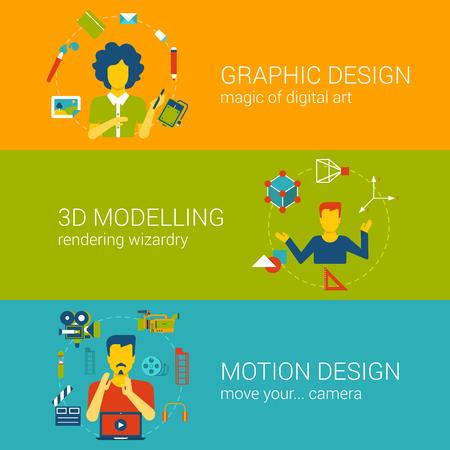 modeling: Design process professions professionals concept flat web banners template set graphic designer 3d modeling motion vector illustration website infographics elements. Flat process webdesign collection. Illustration