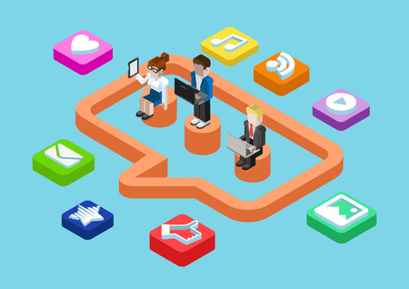 Business chat message, social media user status sharing flat 3d isometric pixel art modern design concept vector. People, callout sign, content app icon. Flat web illustration infographics collection.