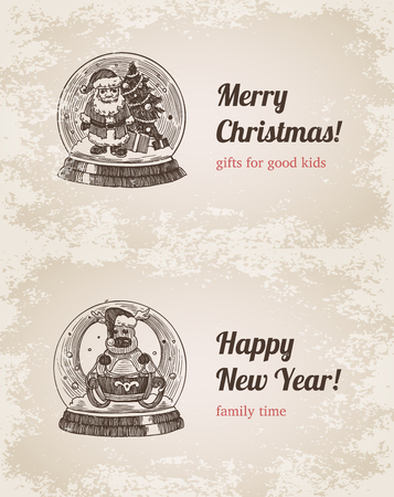 Chrystal call Santa elk set New Year handdrawn engraving style template postcard poster banner print. Web site pen pencil crosshatch hatching paper painting retro vintage vector lineart illustration.
