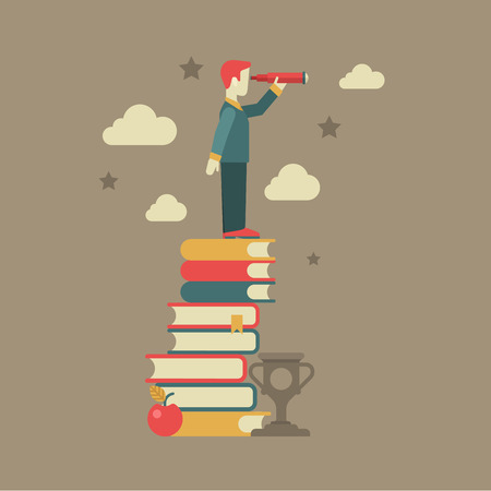 Flat education future vision concept. Man looking through spyglass stands on book heap, apple, clouds, stars, cup winner. Conceptual web illustration for power of knowledge, meaning of being educated. Иллюстрация