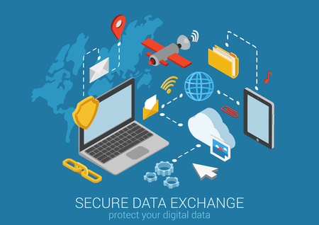 data exchange: Flat 3d web isometric online safety, data protection, secure connection, cryptography, antivirus. Firewall, cloud file exchange, internet security, wireless access, VPN infographic concept vector.