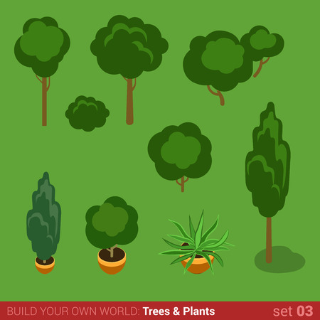 plants and trees: Flat 3d isometric high quality trees bushes plants objects icon set. Build your own world web infographic collection.