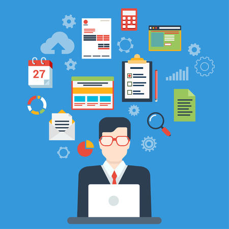 Flat style modern businessman creative process infographic concept. Web illustration for creating business strategy plan, generating report. Man work with laptop and calendar schedule interface icons. Çizim