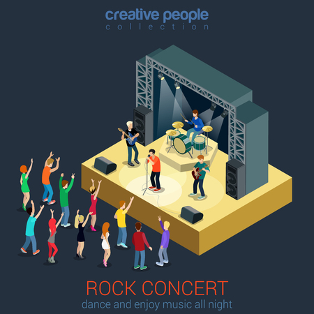 scene: Rock music band pop professional scene concert flat 3d web isometric infographic concept vector. Group creative young people playing instruments impressive performance. Creative people collection.