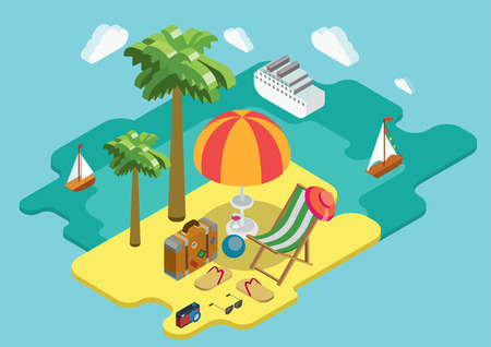 Strand zee oceaan cruise zomervakantie vlakke 3d isometrische pixel art moderne design concept vector. Palmeiland chaise lounge ligstoel koffer teenslippers. Webbanners website infographics illustratie.
