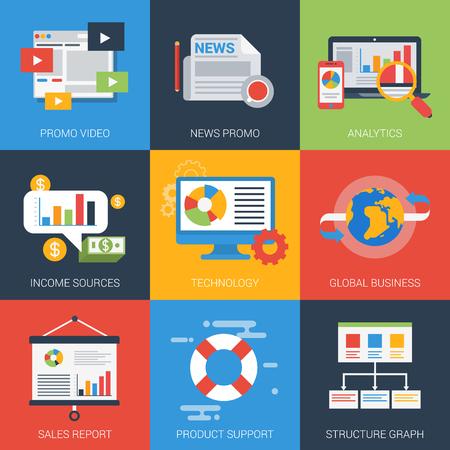 Vlakke pictogrammen set online digitale business promotie campagne analytics rapport ondersteuning verkoopstructuur grafiek bronnen van inkomsten. Web klik infographics stijl vector illustratie begrip collectie.