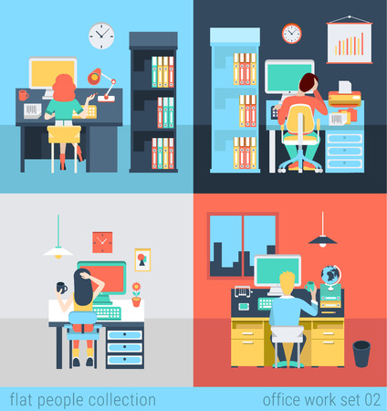 Set of young man woman home office freelance homework laptop table workplace. Flat people lifestyle situation work at home concept. Vector illustration collection of young creative humans. Vettoriali