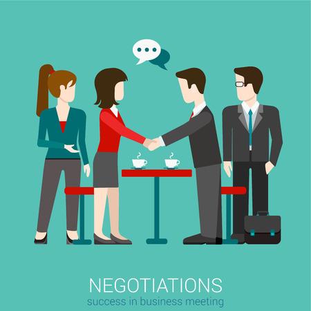 saludo de manos: Piso asociación web mucho éxito en los negocios apretón de manos para tener éxito infografía vector de concepto. Dos hombres de negocios dándose la mano. Colección de la gente creativa.