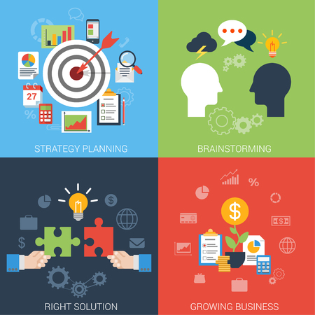 success strategy: Flat style business success strategy target brainstorming growth solution infographic icon set concept. Aim bow arrow bull eye brainstorm chat idea man heads puzzle money web site banner template.