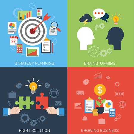 Vlakke stijl zakelijk succes strategie doel brainstormen groei oplossing infographic icon set concept. Richt boog pijl stier oog brainstorm chatten idee man hoofden puzzel geld banner van de website template.
