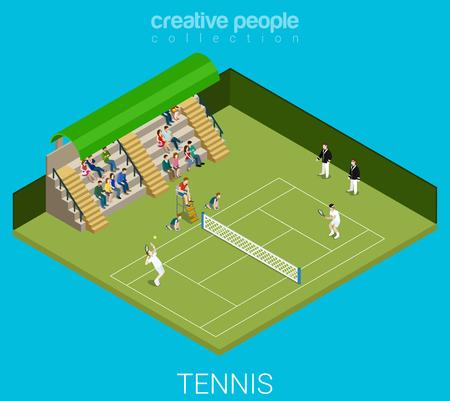 TENIS: Tenis juego concepto de partido. Deporte estilo de vida moderno plana 3d web isométrica vectorial infografía. Grupo de personas femeninas ejercicio micro alegre joven masculina del entrenamiento deportivo. Personas colección deportistas Creative.