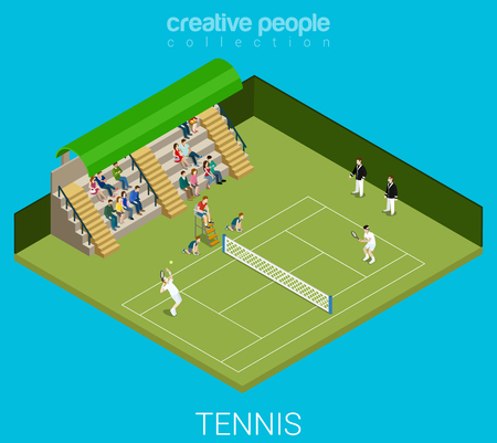 judge players: Tennis game match concept. Sport modern lifestyle flat 3d web isometric infographic vector. Young joyful micro male female people group sports workout exercise. Creative sportsmen people collection.
