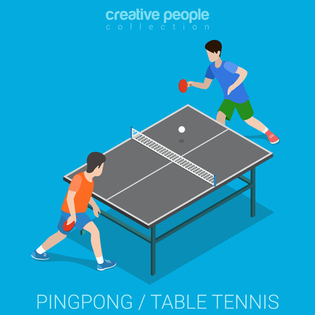 modern lifestyle: Table tennis pingpong match. Sport modern lifestyle flat 3d web isometric infographic vector. Creative sportsmen people collection.