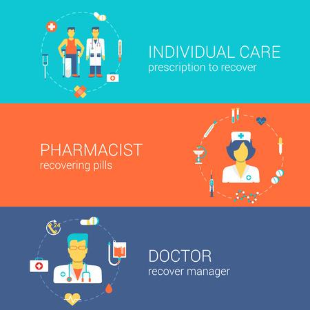 의사 간호사 약사 의료 직원 개념 평면 아이콘 배너 개별 문서 약국은 약 벡터 웹 일러스트 웹 사이트 클릭 인포 그래픽 요소를 복구 설정 템플릿입니