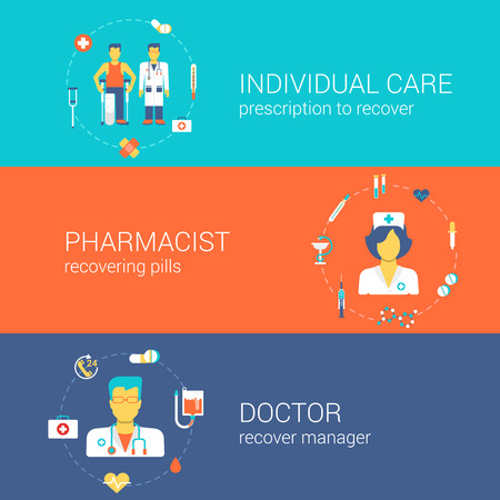 Doctor nurse pharmacist medical care staff concept flat icons banners template set individual doc pharmacy recover pills vector web illustration website click infographics elements.