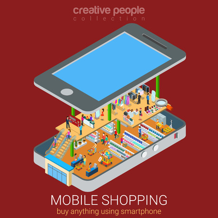 web store: Mobile shopping e-commerce online supermarket store flat 3d web isometric infographic concept vector and electronic business, sales. Buyers customers inside big smartphone among shelves with goods.