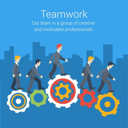 motivated: Flat style modern teamwork, workforce, staff infographic template concept. Conceptual web illustration of business people cog wheels city skyscrapers background. Leadership, human resource management.