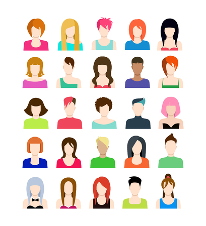 brunet: Set of people icons in flat style with faces. Vector women character. Template concept collection for web profile avatar.