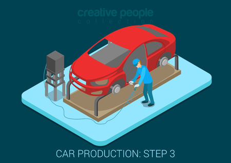 Car production plant process step 3 welding works flat 3d isometric infographic concept vector illustration. Factory worker with vehicle body weld door in assembly shop. Build creative people world.