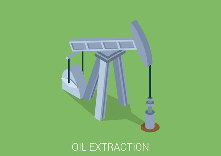extraction: Oil extraction derrick flat 3d web isometric infographic concept vector. Petroleum collection.