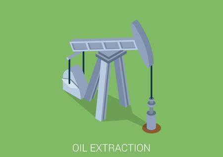 derrick: Oil extraction derrick flat 3d web isometric infographic concept vector. Petroleum collection.
