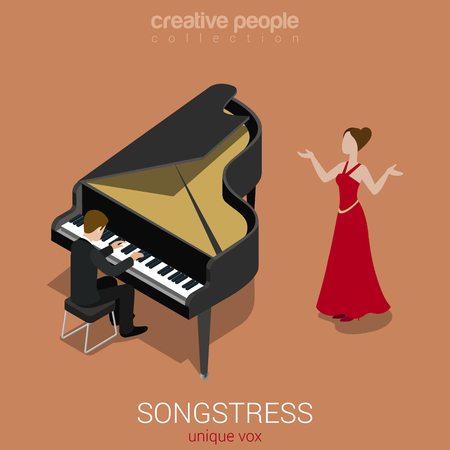lonely person: Songstress solo female singer piano accompaniment flat 3d web isometric infographic concept vector. Creative people world music art collection. Illustration