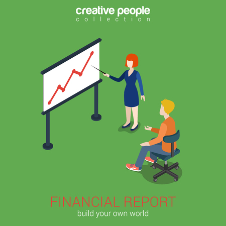 indicator board: Financial report concept flat 3d web isometric infographic vector. Woman points to white board graph indicator. Corporate report template. Build your own world creative people collection.