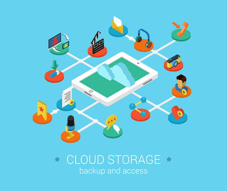 audio video: Cloud storage flat 3d isometric modern design concept vector icons composition set. Data, audio, video, photo, picture, profile, document. Web flat infographic collection. Illustration