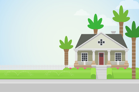coastal: Flat style countryside house church with palms on green lawn concept. Architecture design elements. Build your world collection.