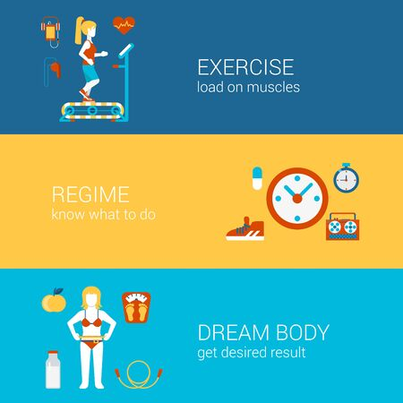 regime: Sports exercise fitness workout concept flat icons banners template set gym training regime get fit dream body vector web illustration website click infographics elements.