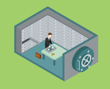 valuables: Flat 3d web isometric bank vault, safe depository box room infographic concept vector. Man puts diamond valuables to depositary. Creative people collection.