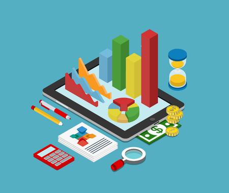 Flat 3d isometrische zakelijke financiën analytics, grafiek grafisch rapport over tablet web infographic begrip vector. Zandloper rekenmachine geld munten documenten en collage op tablet. Stijlvolle website banner.