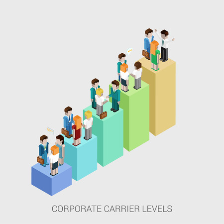 corporate people: Flat 3d isometric infographic concept of company corporate carrier ladders management structure web concept vector template. Bar graphic with standing business people. Departments and teamwork. Illustration