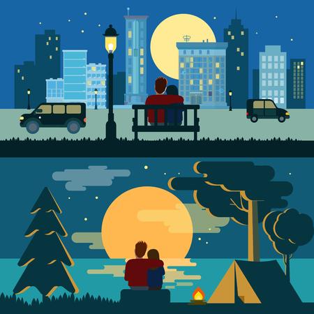 romance: Abrazo pareja abrazo romántico amor que data noche de la ciudad plana y plantilla de vector de concepto de paisaje romántico al aire libre. Colección de gente romántica creativa.