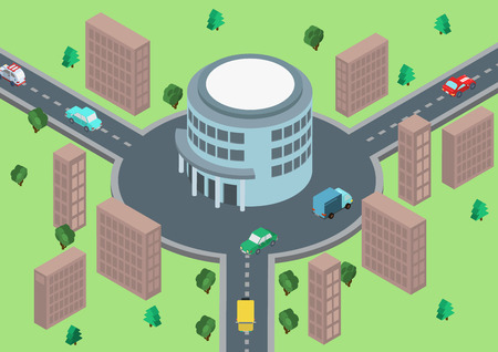 traffic building: Flat style 3d isometric vector illustration concept of road traffic circular motion. Circle road connection with round office building. Place your   on roof.