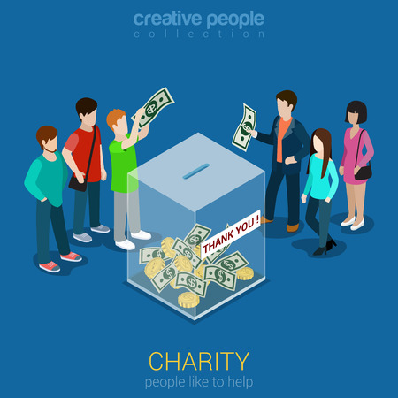 unrecognizable: Charity donation funding flat 3d isometric web infographic