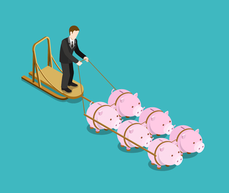 Bank owner, investor, multi investment target flat 3d web isometric infographic concept vector. Businessman drives pig sleds. Creative people financial monetary piggy bank savings collection. Ilustração