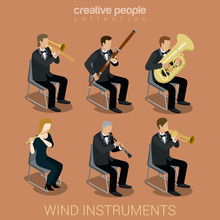 scene: Wind instrument musicians flat 3d web isometric infographic concept vector. Group of creative young people playing on classic instruments scene theater opera concert. Trombone fife flute trumpet tube pipe clarinet.