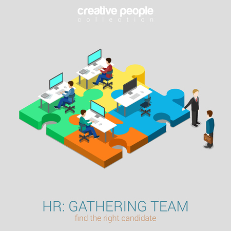 web solution: HR human relations gathering team solution flat 3d web isometric infographic concept vector. Businessman welcomes newbie company worker candidate demonstrating workplace. Creative people collection. Illustration
