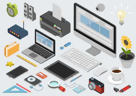 Flat 3d isometric computerized technology designer workspace infographic concept vector. Tablet, laptop, smart phone, camera, player, printer, desktop computer, printer, peripheral devices icon set. Illusztráció