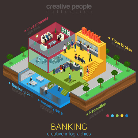 business reception: Flat 3d isometric abstract bank building floor interior departments concept vector. Reception safe depository meeting room workplaces top management indoor stairs. Creative business people collection. Illustration
