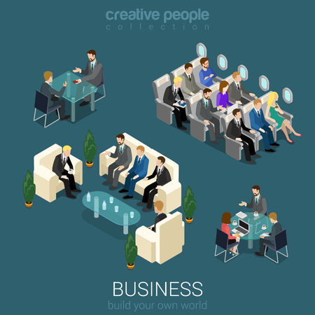 airplane cartoon: Flat 3d isometric abstract office building floor interior detail elements concept vector. Negotiations meeting room business lunch airplane trip seats. Creative people business world collection.