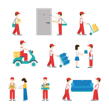 Delivery service workers in process with clients icon set flat modern web isometric infographic concept vector. Deliveryman with box pizza water scooter flower furniture gift customer. Creative people.