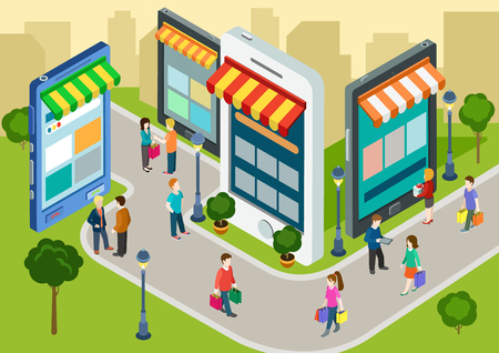 Vlakke 3d web isometrische e-commerce, elektronische handel, online mobiel winkelen, verkoop, zwarte vrijdag infographic begrip vector. De mensen lopen op straat tussen de winkels boetiekjes zoals telefoons tablets. Stock Illustratie