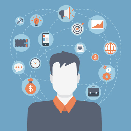 Flat style modern web businessman infographic icon collage. Vector illustration of business man in suit with activity lifestyle, work duties, responsibility icons. Finance, time management concept Vettoriali