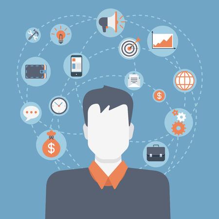 Vlakke stijl moderne web zakenman infographic pictogram collage. Vector illustratie van zaken man in pak met de activiteit levensstijl, werk taken, verantwoordelijkheid pictogrammen. Financiën, time management concept