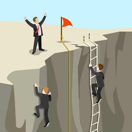 achieve: Challenge carrier goal achievement business concept flat 3d web isometric infographic vector. Businessmen competition climb from abyss to top new horizon. Creative people collection. Illustration