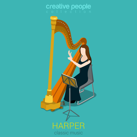 symphony: Classic music symphony female harp performer flat 3d web isometric infographic concept vector. Young woman people playing on instruments scene theater opera concert.